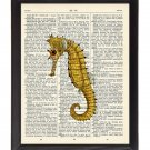 Yellow Seahorse Printed On 1900's Dictionary Page 8x10