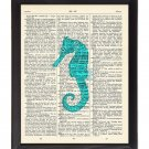 Blue Seahorse Printed On 1900's Dictionary Page 8x10