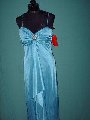 Jeweled Aqua Halter Gown