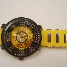 MEN TECHNO KING HIP HOP URBAN BIG FACE SPORTS WATCH YELLOW/ BLKCHROME