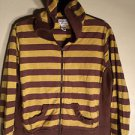 LADIES HOODIE SWEAT TOP SIZE L BROWN