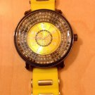 MEN TECHNO KING HIP HOP URBAN BIG FACE SPORTS WATCH YELLOWBLK CHROME/STUDS
