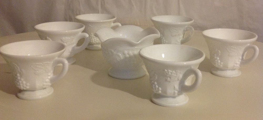 MILK GLASS TEA CUP AND SUGAR BOWL SET
