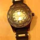 MEN TECHNO KING HIP HOP URBAN BIG FACE SPORTS WATCH BLK CHROME