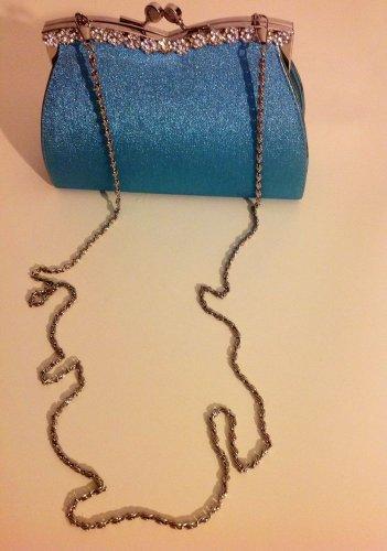 RHINSTONE VINTAGE LOOK METALIC BLUE EVENING CLUTCH BAG