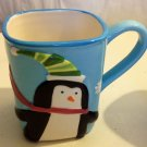 BLUE CUP WITH PENQUIN DRESS UP ON XMAX SNOW DAY GREAT MUG