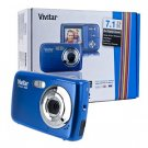 Vivitar ViviCam 7022 7.1MP 4x Digital Zoom HD Camera (Blueberry) - One Touch Sharing!