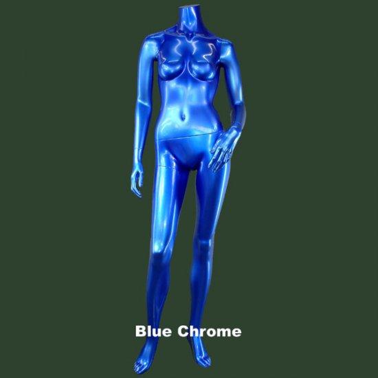 Blue Chrome Headless Female Mannequin