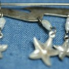 STERLING SILVER FRESHWATER DANGLE PEARL STARFISH PIN