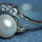 7.5mm FRESHWATER PEARL CZ STONE RING