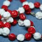 VINTAGE COSTUME JEWELRY RED WHITE GLASS BEAD NECKLACE