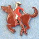 VINTAGE PAINTED METAL EQUESTRIAN HORSE RIDER PIN
