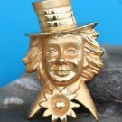 COSTUME JEWELRY GOLD TONE CLOWN PIN LARGE