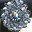 VINTAGE BLUE AURORA BOREALIS GLASS BEAD EARRINGS CLIPS
