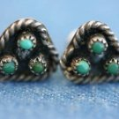 SOUTHWESTERN STERLING SILVER TURQUOISE HEART EARRINGS