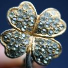 VINTAGE STERLING SILVER RHINESTONE CLOVER EARRINGS