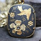 FASHION JEWELRY DAMASCENE BIRD FLOWER PENDANT NECKLACE
