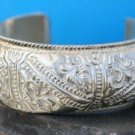 FASHION COSTUME JEWELRY EMBOSSED SILVER CUFF BRACELET