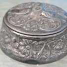 ANTIQUE VAN BERGH QUADRUPLE SILVER EMBOSSED POWDER BOX