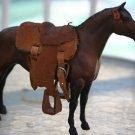 PLASTIC HORSE FIGURINE NATURAL LEATHER SADDLE NICE