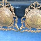 ORNATE ANTIQUE BRASS ALEXANDER THE GREAT EARRINGS CLIPS