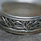 STERLING  MARCASITE FLOWER LEAF OPEN WORK BAND RING