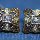 COSTUME JEWELRY GOLD TONE RHINESTONE FILIGREE EARRINGS
