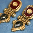 COSTUME JEWELRY ENAMEL GLADIATOR ONYX EARRINGS