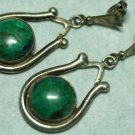 OLD STERLING SILVER TURQUOISE STONES  DANGLE EARRINGS