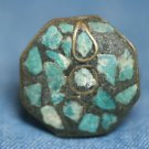 VINTAGE BRASS INLAY TURQUOISE GEMSTONE RING