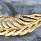 VINTAGE STERLING SILVER GOLD VERMEIL PLUME FEATHER PIN