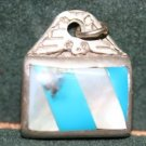 MEXICO STERLING THUNDERBIRD MOP TURQUOISE PENDANT