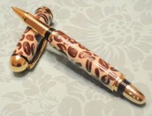 Handmade 10k Gold Sedona Rollerball Pen w/ Real Coffee Beans