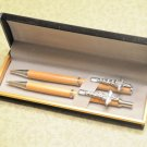 Handmade Lignum Vitae Pen & Pencil Set w/ Caduceus Clips