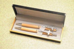 Handmade Lignum Vitae Pen & Pencil Set w/ Caduceus Clips