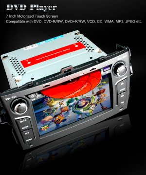 7 Inch HD Digital Touch Screen Car DVD Player with GPS and IPOD TOYOTA COROLLA-918