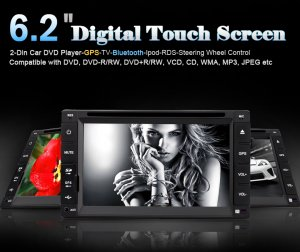 "6.2"" Digital Touch Screen 2-Din Car DVD Player-GPS-TV-Bluetooth-Ipod-RDS-Steering Wheel Control"