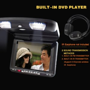 10.4 inch car roof mount LCD TFT IR/FM TRANSMITTER with dvd player USB SD