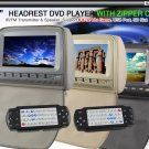 "2x 9"" Grey Car Pillow Headrest Monitor DVD Player-997"