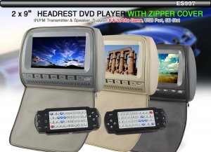 """2x 9"""" Grey Car Pillow Headrest Monitor DVD Player-997"""