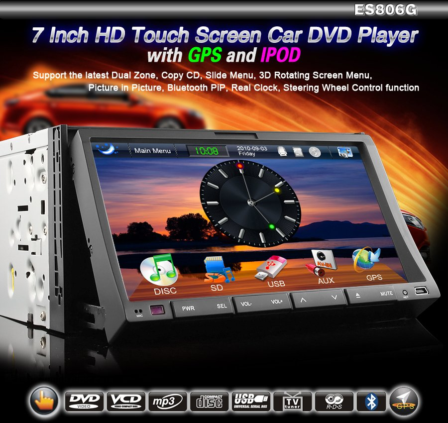 2 Din HD 7 inch Touchscreen Car Sat Nav TV 3D Rotating GPS Dual Zone BT PIP Radio/DVD/iPod-806