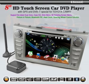 """8"""" 2 Din Touch Screen Car DVD Player for TOYOTA CAMRY DVB-T GPS-866C"""