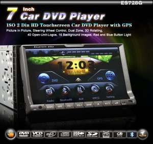 "Double Din Car Audio DVD 7"" Touch Screen GPS Radio RDS BT mp3 usb sd-728G"