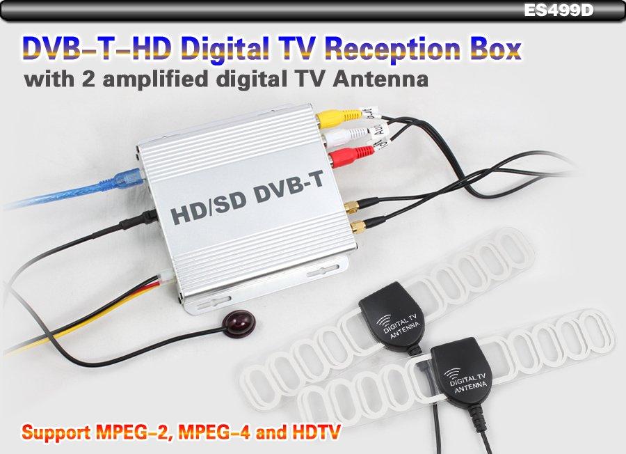 MPEG-4 MEPG 2 Digital TV DVBT receiver box HD With 2 amplified digital TV Antenna