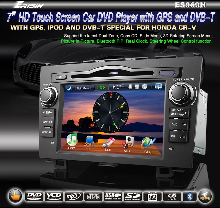 "7"" 2 Din HD Touch Screen Car DVD System for HONDA CR-V DVB-T GPS Window CE 6.0 3D- 969H"