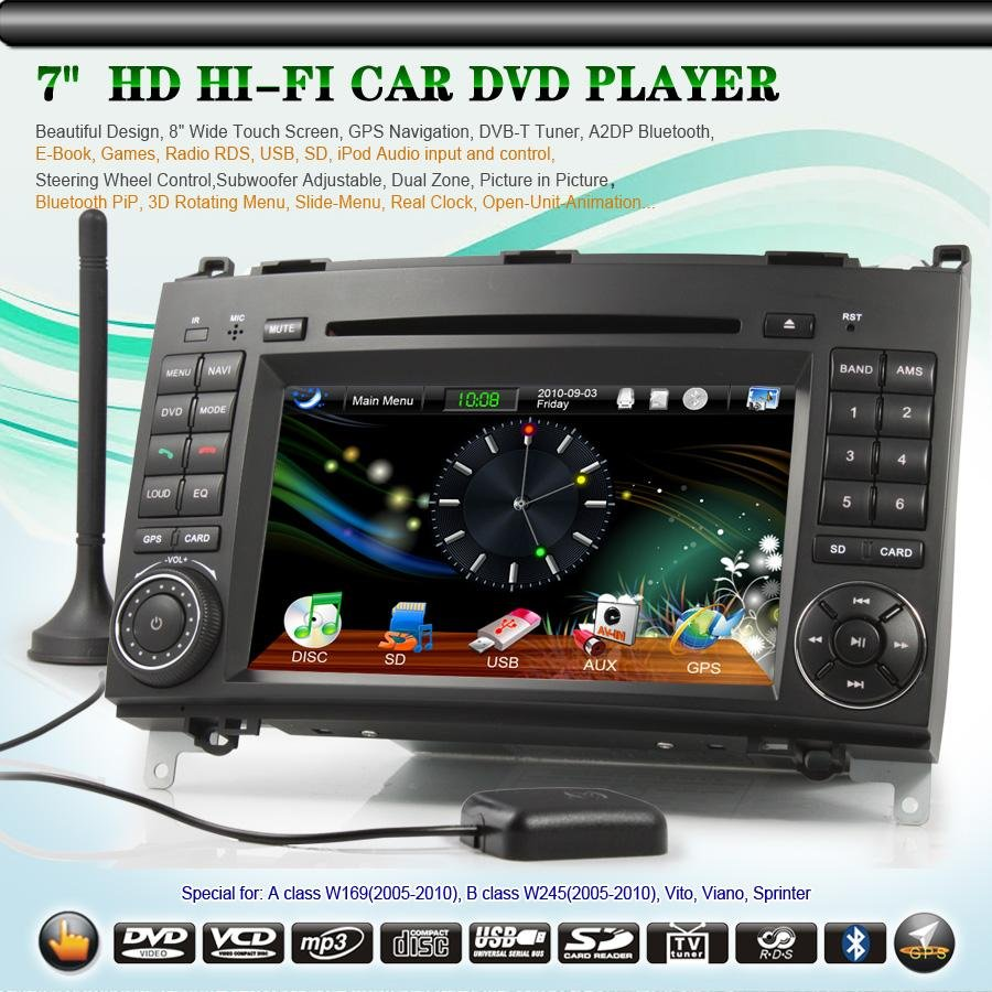 7 Hd Car Stereo Dvd Player System Android Tablet Gps 3G Dvb-T Wifi 2-Din