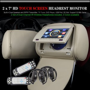 "7"" Digital Touchscreen TV Car Headrest Monitor with Zipper - 556"