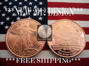 2012 1 OZ .999 COPPER BULLION ROUND COIN �ST. GAUDENS� PROOF BU GEM�NEW SILVER ?