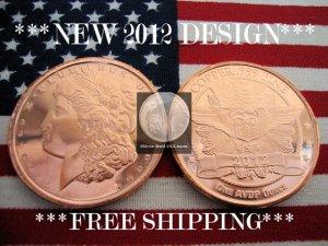 2012 1 OZ .999 COPPER ROUND COIN BAR �MORGAN DOLLAR� PROOF BU GEM� NEW SILVER !?