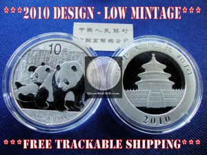 2010 1 OZ OUNCE .999 SILVER BULLION CHINESE PANDA COIN GEM BU UNC � IN STOCK �